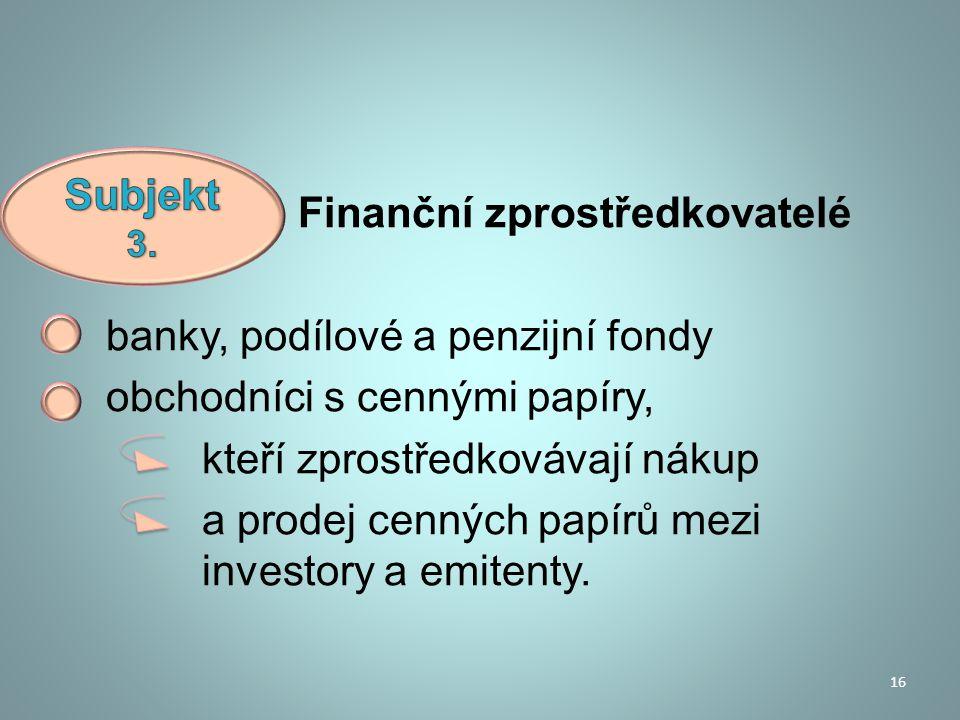 Finanční zprostředkovatelé banky, podílové a penzijní fondy obchodníci s cennými papíry, kteří zprostředkovávají nákup a prodej cenných papírů mezi in