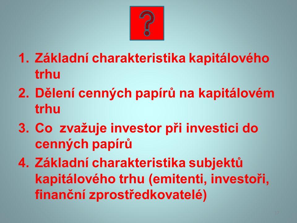 1.Základní charakteristika kapitálového trhu 2.Dělení cenných papírů na kapitálovém trhu 3.Co zvažuje investor při investici do cenných papírů 4.Zákla