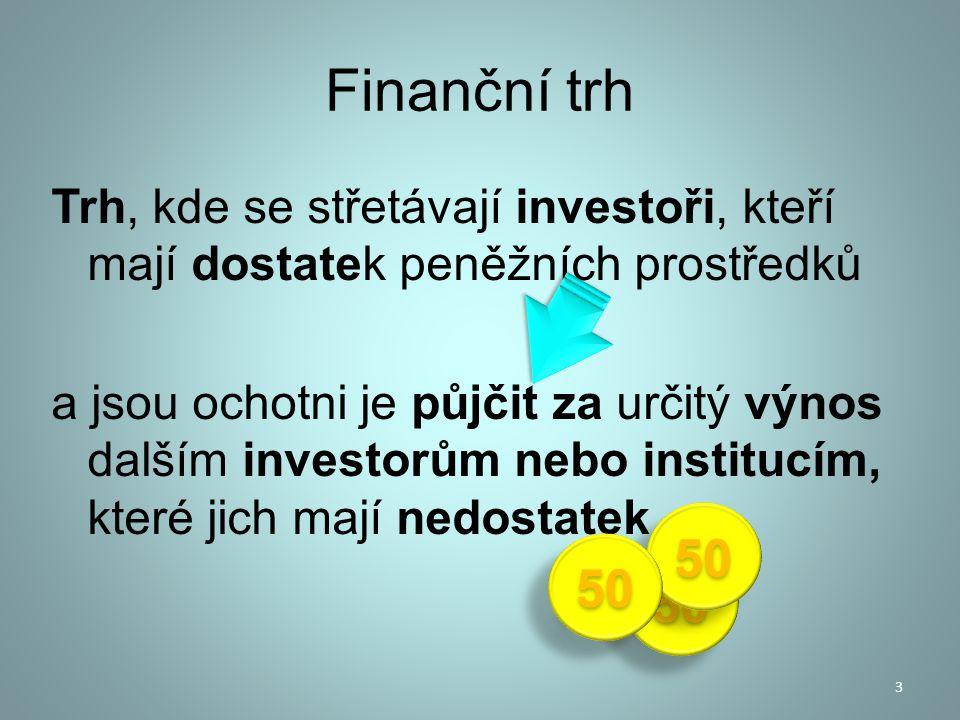 Finanční trh Trh, kde se střetávají investoři, kteří mají dostatek peněžních prostředků a jsou ochotni je půjčit za určitý výnos dalším investorům neb