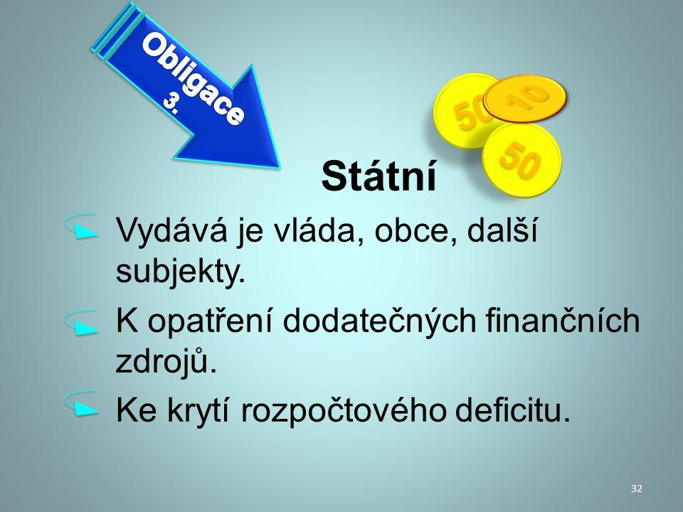 Státní Vydává je vláda, obce, další subjekty. K opatření dodatečných finančních zdrojů. Ke krytí rozpočtového deficitu. 32