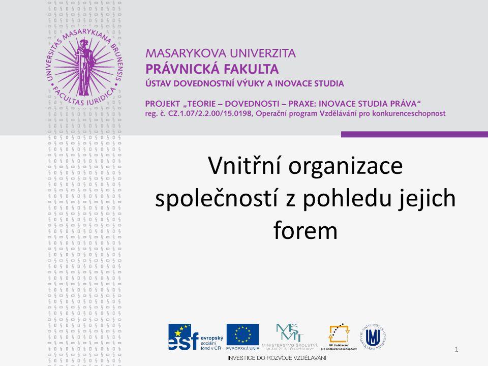 Vnitřní organizace společností z pohledu jejich forem 1