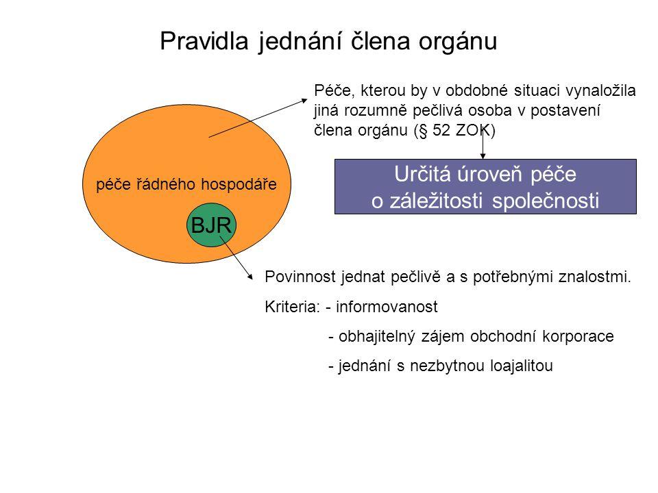 Pravidla jednání člena orgánu péče řádného hospodáře BJR Péče, kterou by v obdobné situaci vynaložila jiná rozumně pečlivá osoba v postavení člena org