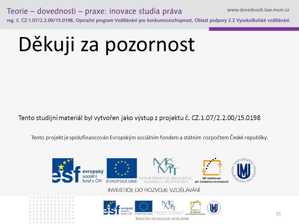 Děkuji za pozornost Tento studijní materiál byl vytvořen jako výstup z projektu č. CZ.1.07/2.2.00/15.0198 15 Tento projekt je spolufinancován Evropský