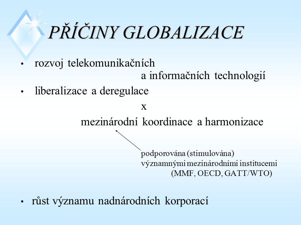 PŘÍČINY GLOBALIZACE rozvoj telekomunikačních a informačních technologií liberalizace a deregulace x mezinárodní koordinace a harmonizace podporována (stimulována) významnými mezinárodními institucemi (MMF, OECD, GATT/WTO) růst významu nadnárodních korporací