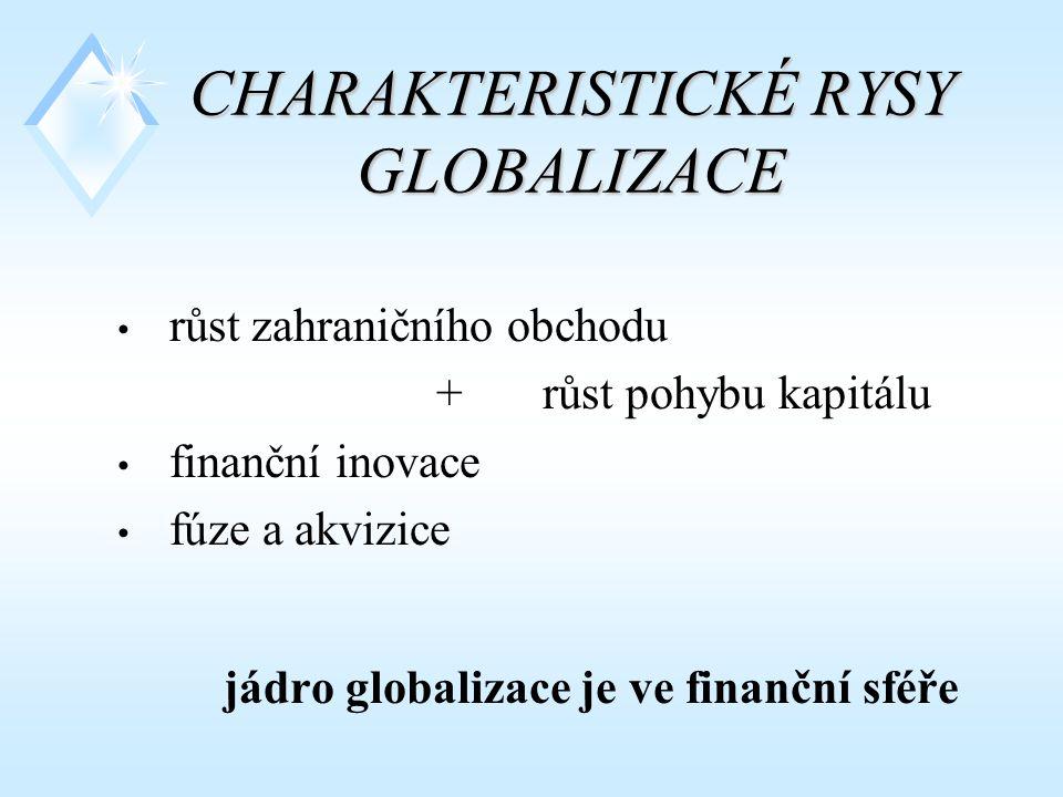 CHARAKTERISTICKÉ RYSY GLOBALIZACE růst zahraničního obchodu + růst pohybu kapitálu finanční inovace fúze a akvizice jádro globalizace je ve finanční sféře
