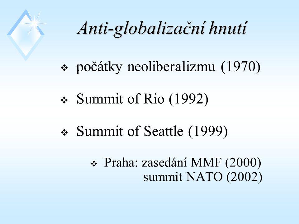 Anti-globalizační hnutí  počátky neoliberalizmu (1970)  Summit of Rio (1992)  Summit of Seattle (1999)  Praha: zasedání MMF (2000) summit NATO (2002)