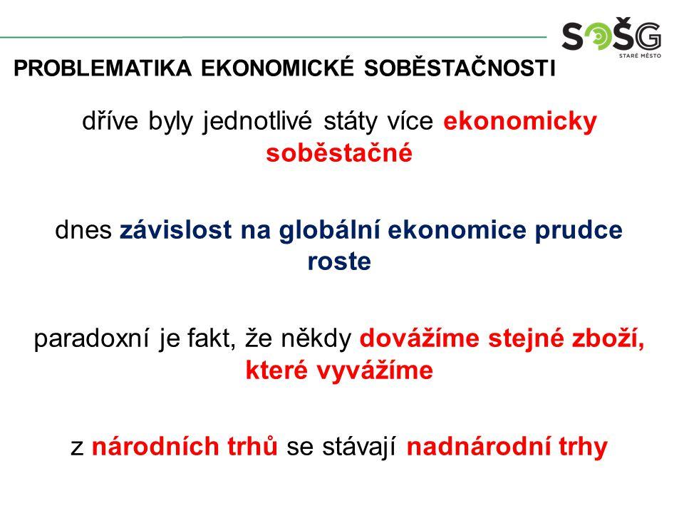 dříve byly jednotlivé státy více ekonomicky soběstačné dnes závislost na globální ekonomice prudce roste paradoxní je fakt, že někdy dovážíme stejné z