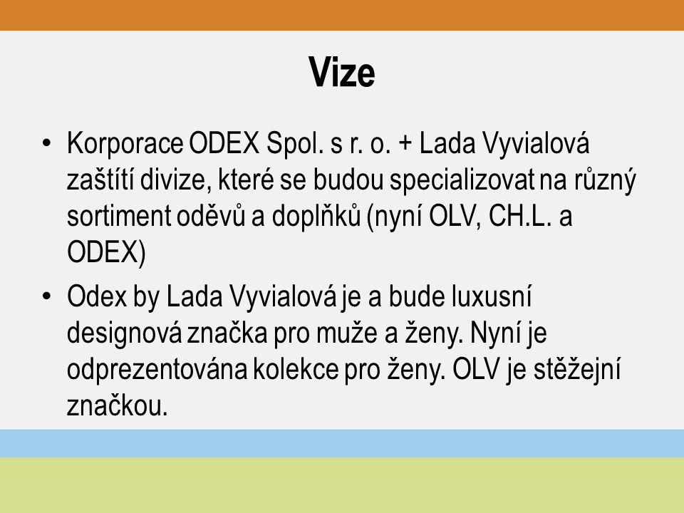 Vize Korporace ODEX Spol. s r. o. + Lada Vyvialová zaštítí divize, které se budou specializovat na různý sortiment oděvů a doplňků (nyní OLV, CH.L. a