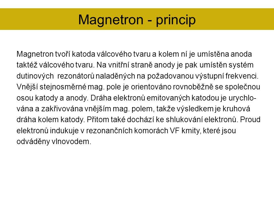 Magnetron tvoří katoda válcového tvaru a kolem ní je umístěna anoda taktéž válcového tvaru. Na vnitřní straně anody je pak umístěn systém dutinových r