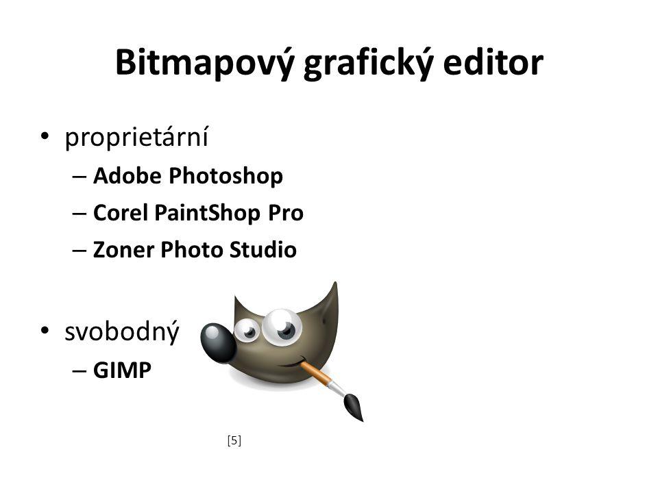 Bitmapový grafický editor proprietární – Adobe Photoshop – Corel PaintShop Pro – Zoner Photo Studio svobodný – GIMP [5]