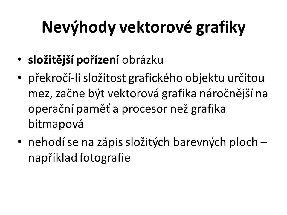 Nevýhody vektorové grafiky složitější pořízení obrázku překročí-li složitost grafického objektu určitou mez, začne být vektorová grafika náročnější na
