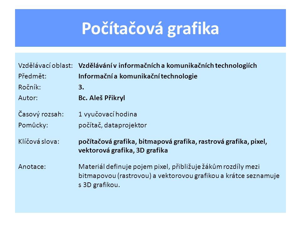 Počítačová grafika Vzdělávací oblast:Vzdělávání v informačních a komunikačních technologiích Předmět:Informační a komunikační technologie Ročník:3. Au