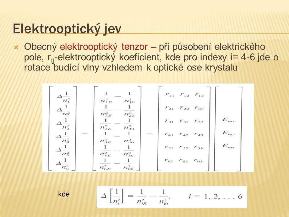 Elektrooptický jev  Obecný elektrooptický tenzor – při působení elektrického pole, r ij -elektrooptický koeficient, kde pro indexy i= 4-6 jde o rotac