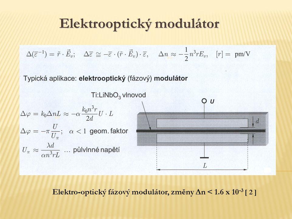 Elektro-optický fázový modulátor, změny  n < 1.6 x 10 -3 [ 2 ] EO Elektrooptický modulátor