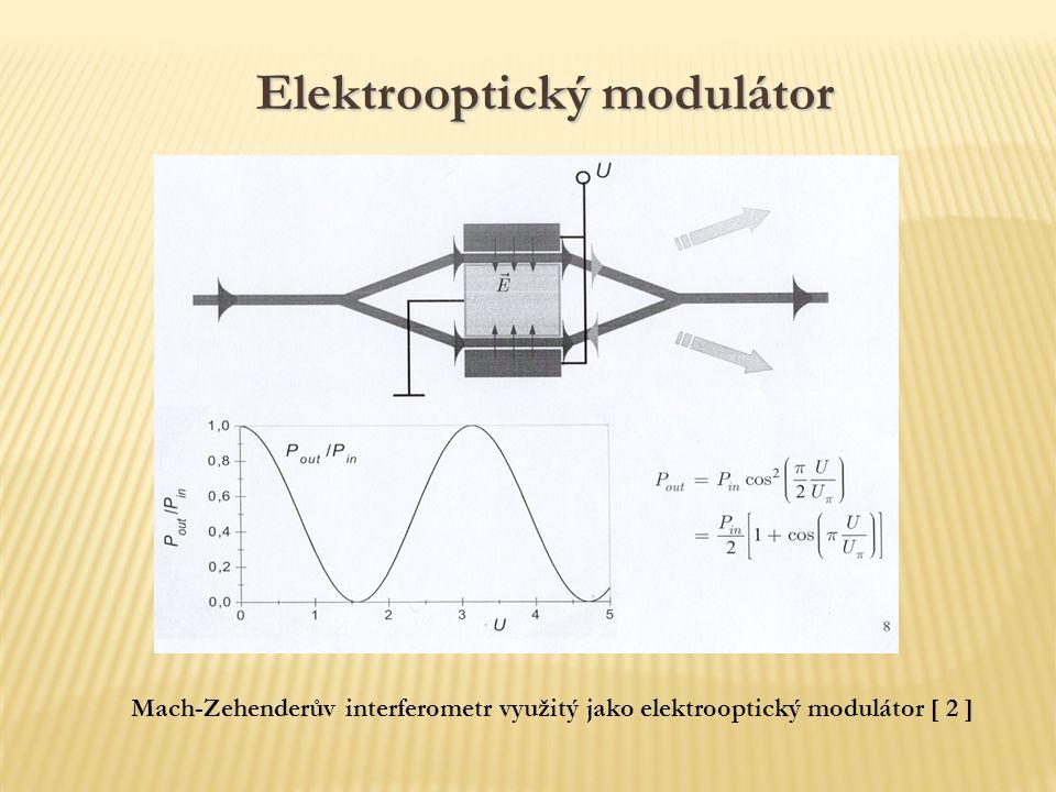 Mach-Zehenderův interferometr využitý jako elektrooptický modulátor [ 2 ] Elektrooptický modulátor