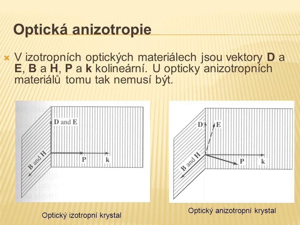 Optická anizotropie  V izotropních optických materiálech jsou vektory D a E, B a H, P a k kolineární. U opticky anizotropních materiálů tomu tak nemu