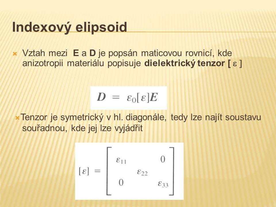 Indexový elipsoid  Vztah mezi E a D je popsán maticovou rovnicí, kde anizotropii materiálu popisuje dielektrický tenzor [   Tenzor je symetrický