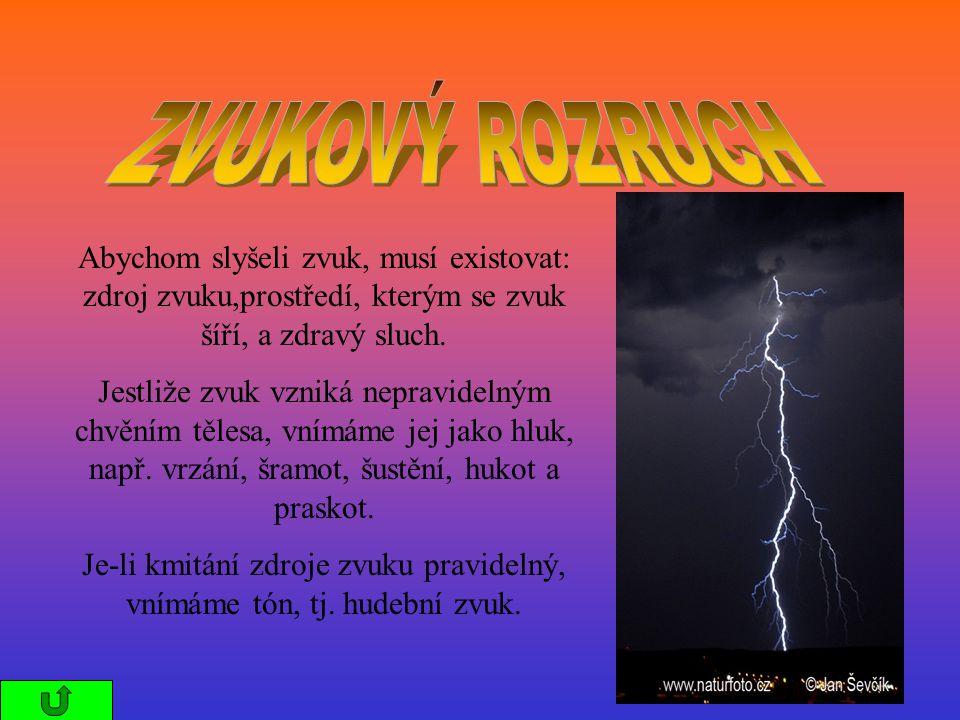 Zvukový rozruch se šíří látkami pevnými, kapalnými i plynnými.