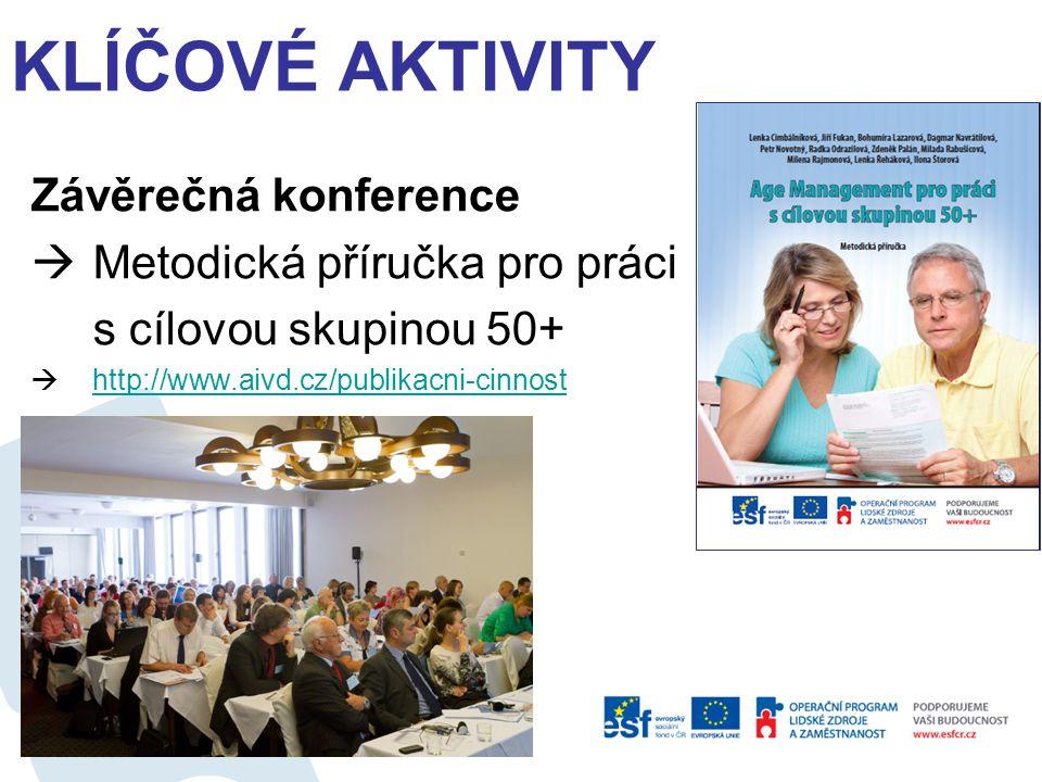 Závěrečná konference  Metodická příručka pro práci s cílovou skupinou 50+  http://www.aivd.cz/publikacni-cinnost http://www.aivd.cz/publikacni-cinnost KLÍČOVÉ AKTIVITY