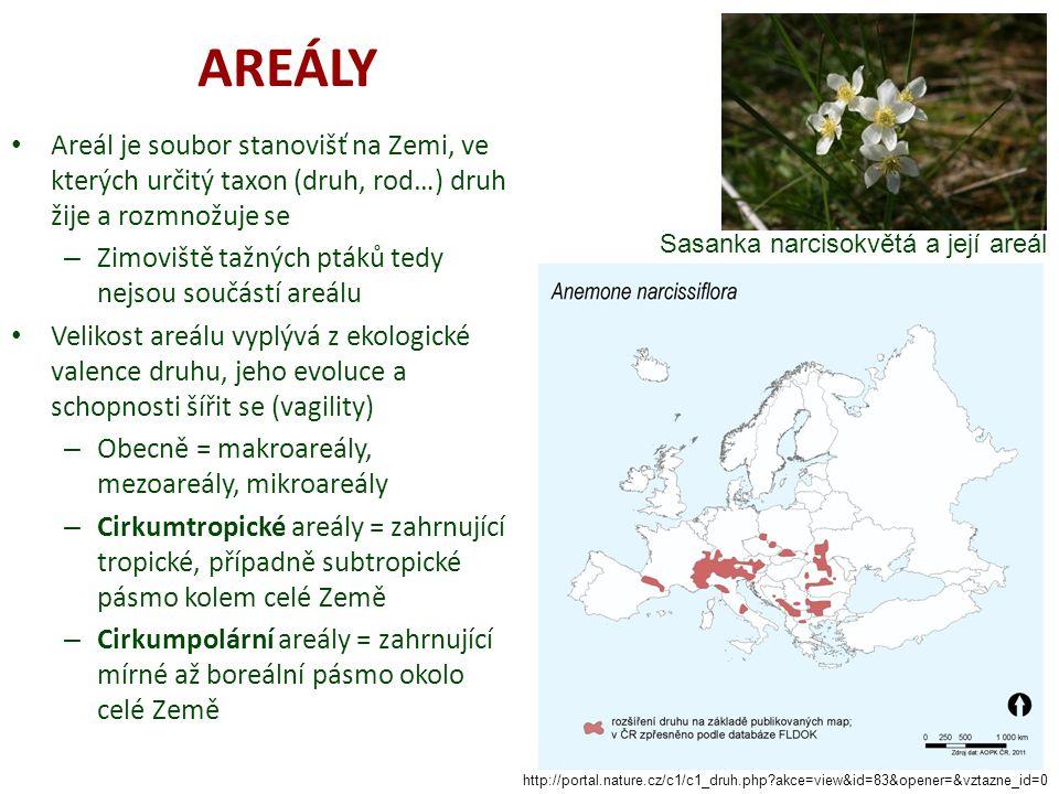AREÁLY Areál je soubor stanovišť na Zemi, ve kterých určitý taxon (druh, rod…) druh žije a rozmnožuje se – Zimoviště tažných ptáků tedy nejsou součástí areálu Velikost areálu vyplývá z ekologické valence druhu, jeho evoluce a schopnosti šířit se (vagility) – Obecně = makroareály, mezoareály, mikroareály – Cirkumtropické areály = zahrnující tropické, případně subtropické pásmo kolem celé Země – Cirkumpolární areály = zahrnující mírné až boreální pásmo okolo celé Země http://portal.nature.cz/c1/c1_druh.php akce=view&id=83&opener=&vztazne_id=0 Sasanka narcisokvětá a její areál