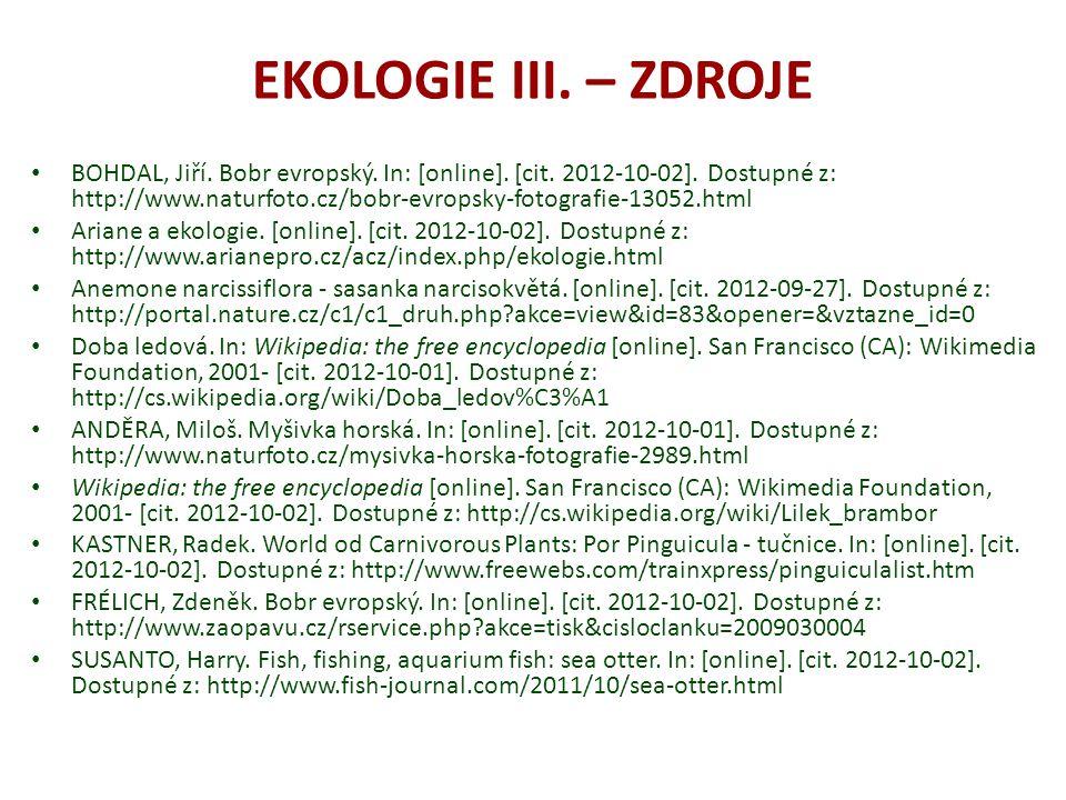 EKOLOGIE III. – ZDROJE BOHDAL, Jiří. Bobr evropský.
