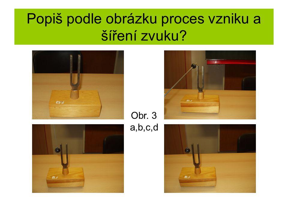 Popiš podle obrázku proces vzniku a šíření zvuku Obr. 3 a,b,c,d