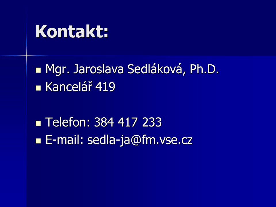 Kontakt: Mgr. Jaroslava Sedláková, Ph.D. Mgr. Jaroslava Sedláková, Ph.D.