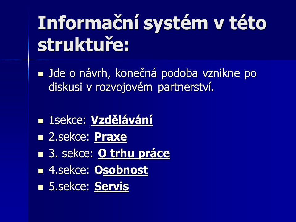 Informační systém v této struktuře: Jde o návrh, konečná podoba vznikne po diskusi v rozvojovém partnerství.