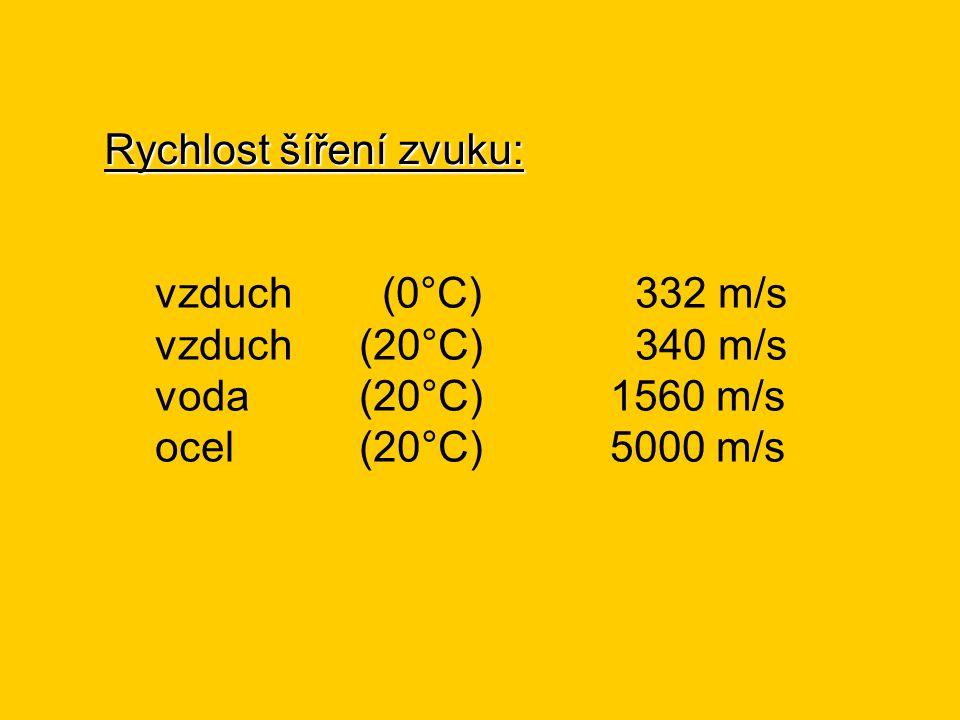 Rychlost šíření zvuku: vzduch (0°C)332 m/s vzduch (20°C)340 m/s voda (20°C) 1560 m/s ocel (20°C) 5000 m/s