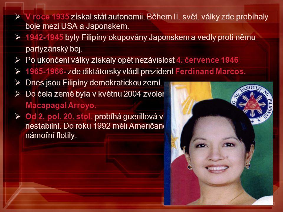 VV roce 1935 získal stát autonomii. Během II. svět. války zde probíhaly boje mezi USA a Japonskem. 11942-1945 byly Filipíny okupovány Japonskem a