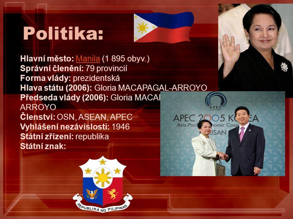 Politika: Hlavní město: Manila (1 895 obyv.) Správní členění: 79 provincií Forma vlády: prezidentská Hlava státu (2006): Gloria MACAPAGAL-ARROYO Předs