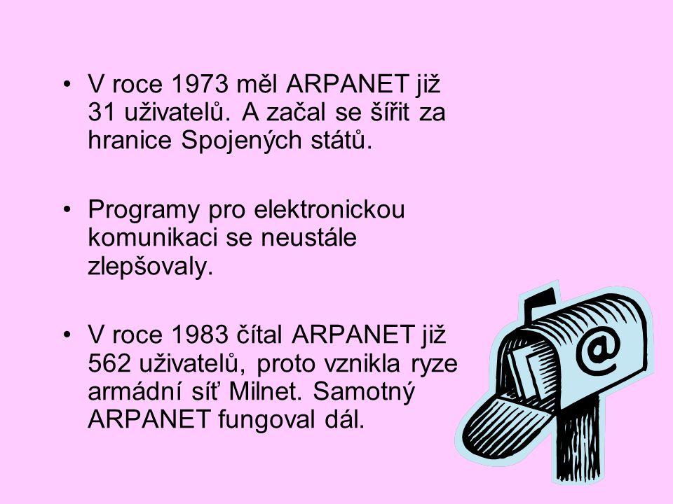 V roce 1973 měl ARPANET již 31 uživatelů. A začal se šířit za hranice Spojených států. Programy pro elektronickou komunikaci se neustále zlepšovaly. V