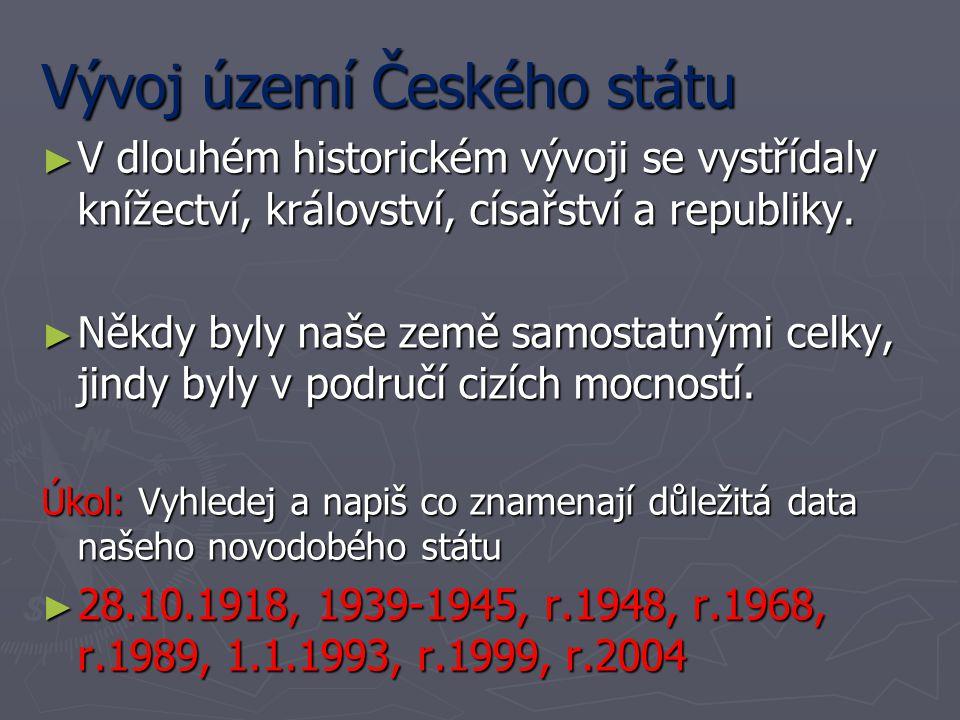Vývoj území Českého státu ► V dlouhém historickém vývoji se vystřídaly knížectví, království, císařství a republiky. ► Někdy byly naše země samostatný