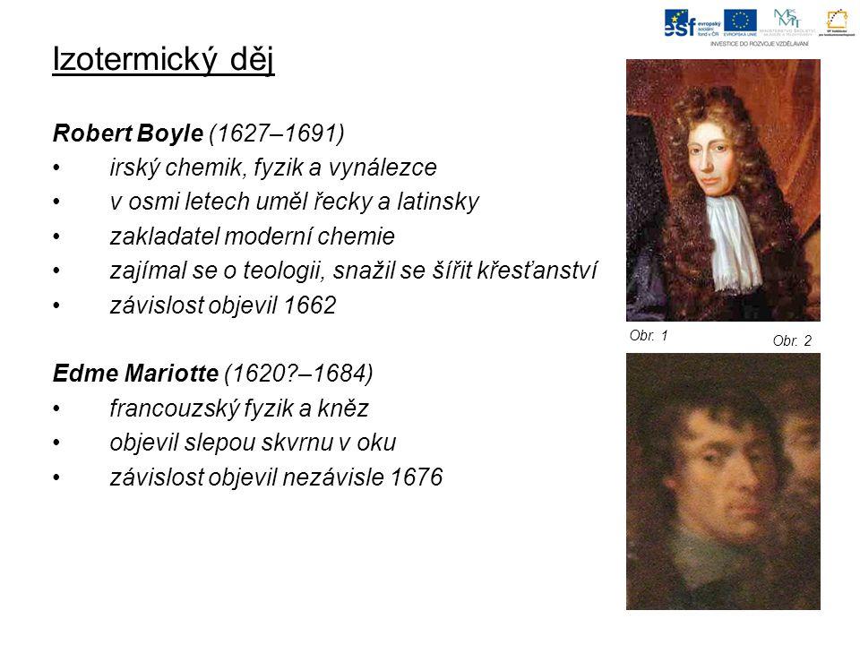 Izotermický děj Robert Boyle (1627–1691) irský chemik, fyzik a vynálezce v osmi letech uměl řecky a latinsky zakladatel moderní chemie zajímal se o teologii, snažil se šířit křesťanství závislost objevil 1662 Edme Mariotte (1620 –1684) francouzský fyzik a kněz objevil slepou skvrnu v oku závislost objevil nezávisle 1676 Obr.