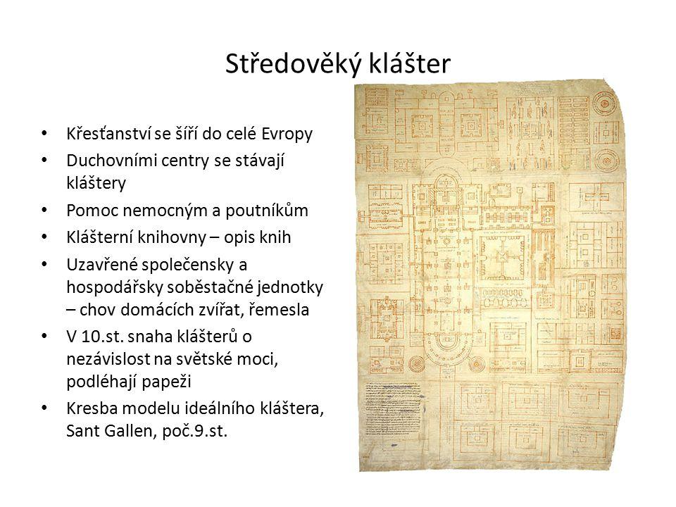 Středověký klášter Křesťanství se šíří do celé Evropy Duchovními centry se stávají kláštery Pomoc nemocným a poutníkům Klášterní knihovny – opis knih