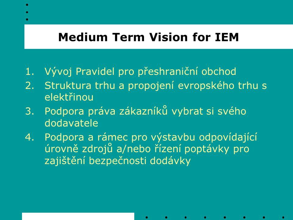 Časový harmonogram IEM 2004: - implementace Nařízení 1228 o podmínkách přístupu k síti při přeshraniční výměně elekřiny - odsouhlasena metodika pro mezinárodní tarif pro TSO - odsouhlasena pravidla pro harmonizaci regionálních tarifů, zavedení lokálních cenových signálů a odstranění T-komponenty - pilotní projekt koordinovaného řízení Congestion management ve WE market region - realizace jednotného velkoobchodního trhu ve Velké Británii - realizace velkoobchodního trhu v Itálii
