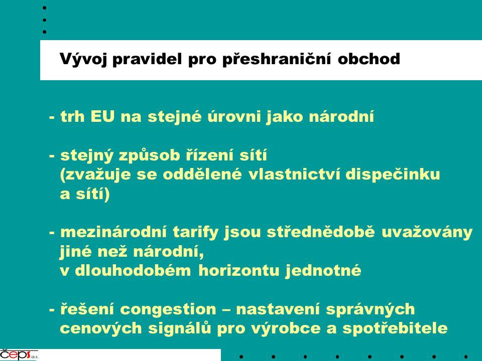 Vývoj pravidel pro přeshraniční obchod - trh EU na stejné úrovni jako národní - stejný způsob řízení sítí (zvažuje se oddělené vlastnictví dispečinku a sítí) - mezinárodní tarify jsou střednědobě uvažovány jiné než národní, v dlouhodobém horizontu jednotné - řešení congestion – nastavení správných cenových signálů pro výrobce a spotřebitele