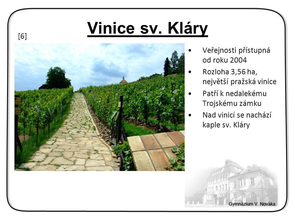 Veřejnosti přístupná od roku 2004 Rozloha 3,56 ha, největší pražská vinice Patří k nedalekému Trojskému zámku Nad vinicí se nachází kaple sv.