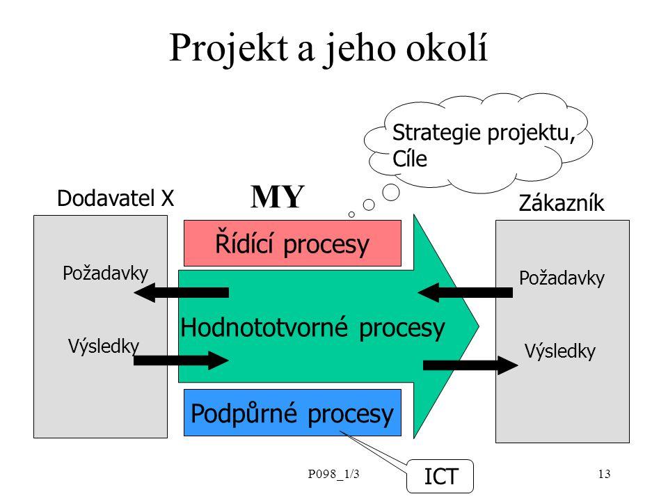 P098_1/313 Projekt a jeho okolí Strategie projektu, Cíle Hodnototvorné procesy Řídící procesy Podpůrné procesy Dodavatel X Zákazník Požadavky Výsledky