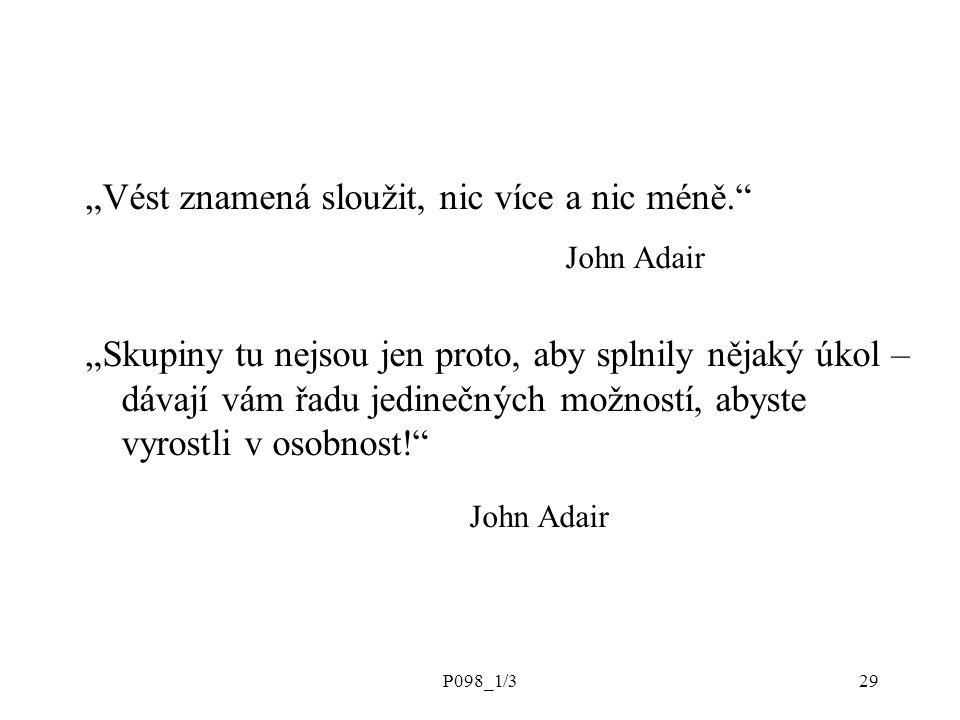 """P098_1/329 """"Vést znamená sloužit, nic více a nic méně. John Adair """"Skupiny tu nejsou jen proto, aby splnily nějaký úkol – dávají vám řadu jedinečných možností, abyste vyrostli v osobnost! John Adair"""