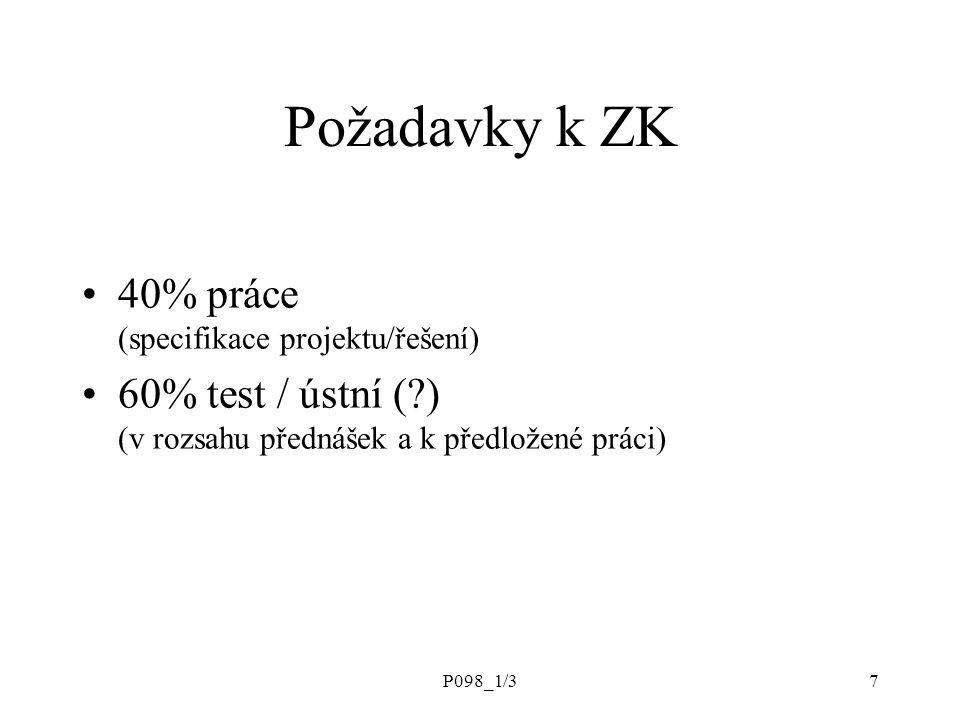 P098_1/37 Požadavky k ZK 40% práce (specifikace projektu/řešení) 60% test / ústní (?) (v rozsahu přednášek a k předložené práci)