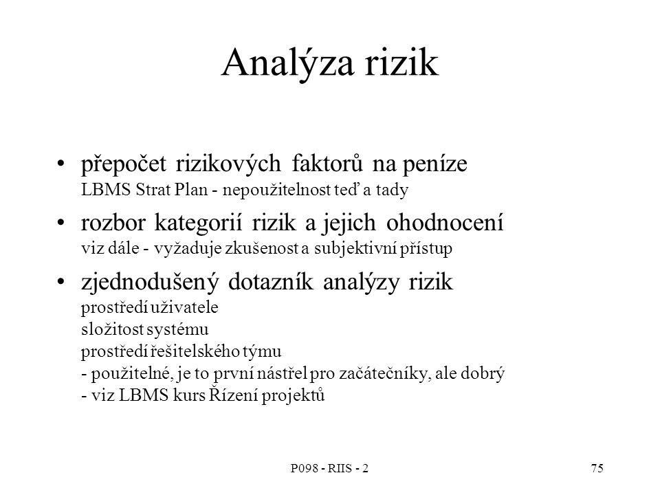 P098 - RIIS - 275 Analýza rizik přepočet rizikových faktorů na peníze LBMS Strat Plan - nepoužitelnost teď a tady rozbor kategorií rizik a jejich ohodnocení viz dále - vyžaduje zkušenost a subjektivní přístup zjednodušený dotazník analýzy rizik prostředí uživatele složitost systému prostředí řešitelského týmu - použitelné, je to první nástřel pro začátečníky, ale dobrý - viz LBMS kurs Řízení projektů