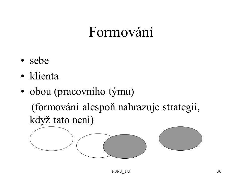 P098_1/380 Formování sebe klienta obou (pracovního týmu) (formování alespoň nahrazuje strategii, když tato není)