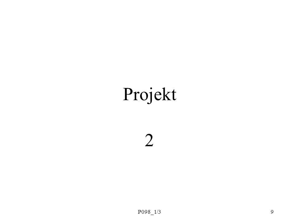 P098_1/310 Témata Co je to projekt Podstata projektového řízení Problém lidí a týmů Pět projektových plánů –CO –JAK –S KÝM –KDY –ZA KOLIK Řízení průběhu, změn, kvality Rizika, formování