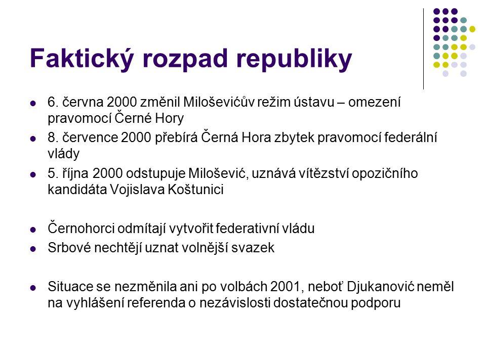 Faktický rozpad republiky 6. června 2000 změnil Miloševićův režim ústavu – omezení pravomocí Černé Hory 8. července 2000 přebírá Černá Hora zbytek pra
