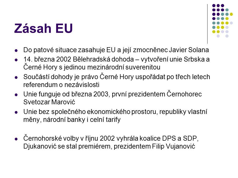 Zásah EU Do patové situace zasahuje EU a její zmocněnec Javier Solana 14. března 2002 Bělehradská dohoda – vytvoření unie Srbska a Černé Hory s jedino
