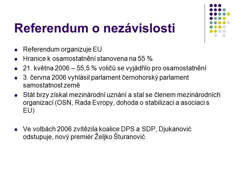 Referendum o nezávislosti Referendum organizuje EU Hranice k osamostatnění stanovena na 55 % 21. května 2006 – 55,5 % voličů se vyjádřilo pro osamosta
