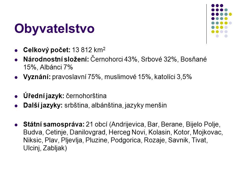 Obyvatelstvo Celkový počet: 13 812 km 2 Národnostní složení: Černohorci 43%, Srbové 32%, Bosňané 15%, Albánci 7% Vyznání: pravoslavní 75%, muslimové 1