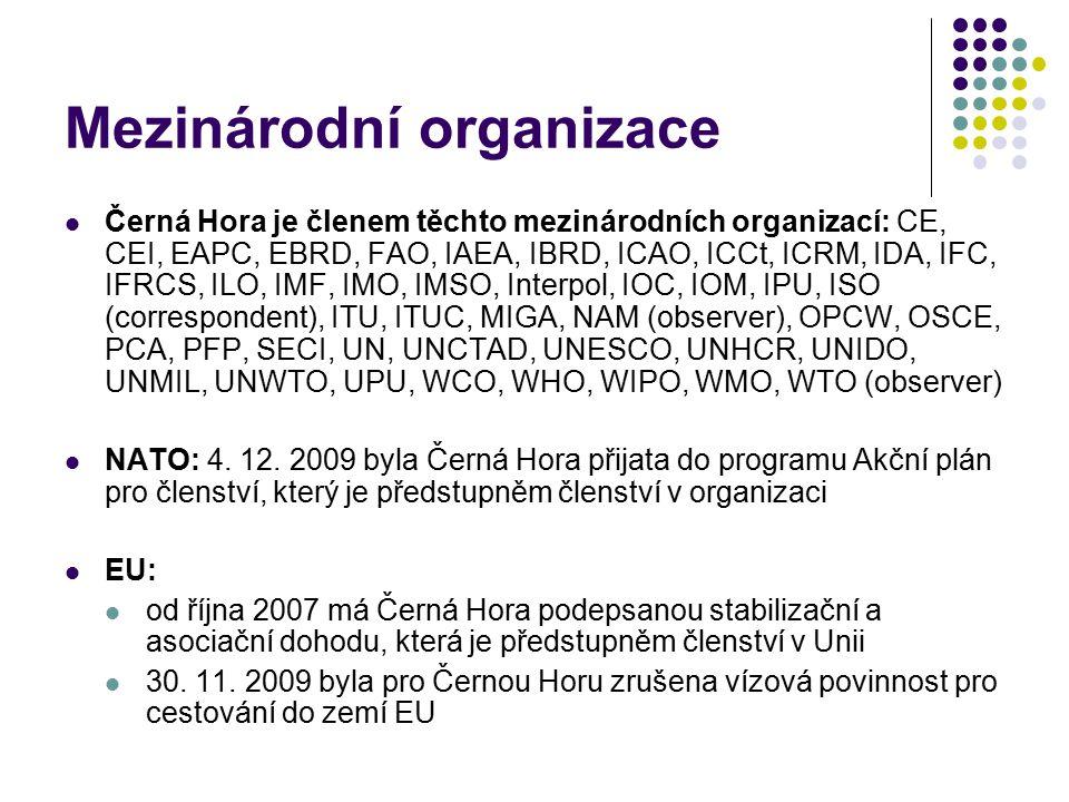 Mezinárodní organizace Černá Hora je členem těchto mezinárodních organizací: CE, CEI, EAPC, EBRD, FAO, IAEA, IBRD, ICAO, ICCt, ICRM, IDA, IFC, IFRCS,