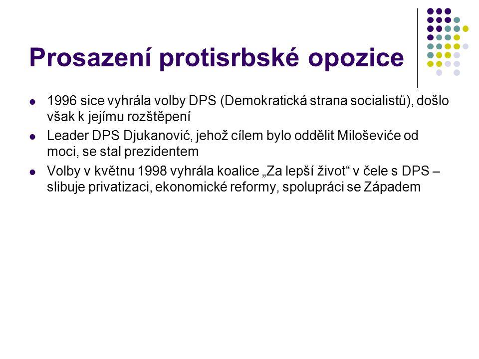 Prosazení protisrbské opozice 1996 sice vyhrála volby DPS (Demokratická strana socialistů), došlo však k jejímu rozštěpení Leader DPS Djukanović, jeho